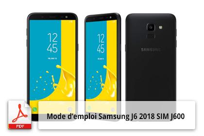 Télécharger mode d'emploi Samsung J6 2018 SM J600