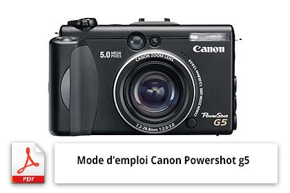 Télécharger le mode d'emploi de l'appareil photo Canon Powershot g5