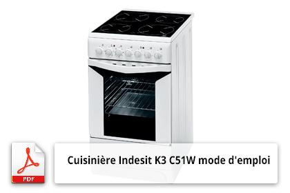 Télécharger le mode d'emploi de la cuisinière Indesit K3C51W