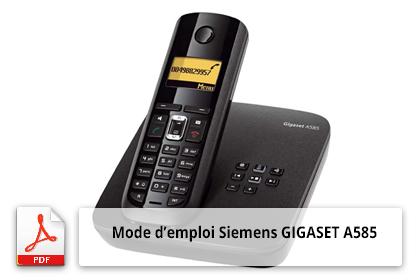 Mode d'emploi Siemens GIGASET A585