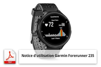 Télécharger la notice d'utilisation de la montre connectée Garmin Forerunner 235
